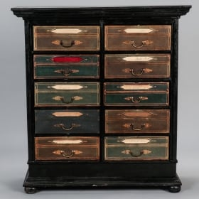 Photo of antique Late 19th Century French Ebonized Oak Linen Chest