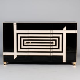 Photo of antique Italian Sideboard with Black and Cream Op Art Murano Glass Overlay