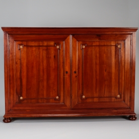 Photo of antique 19th Century Italian Tall Walnut Two Door Shallow Wall Cabinet