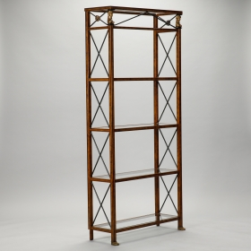 Photo of antique Spanish Neoclassical Style Brass and Glass Etagere