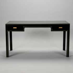 Photo of antique Pierre Vandel Black Lacquered and Brass Desk
