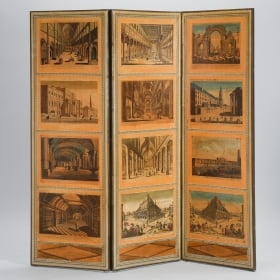 Photo of antique French Directoire Style Folding Screen with European Architectural Scenes