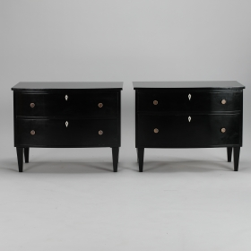 Photo of antique Near Pair Ebonised Chests with Bone Escutcheons