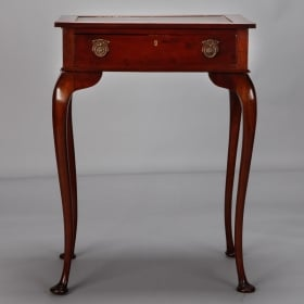 Photo of antique Mahogany Side Table with Leather Top and Single Drawer