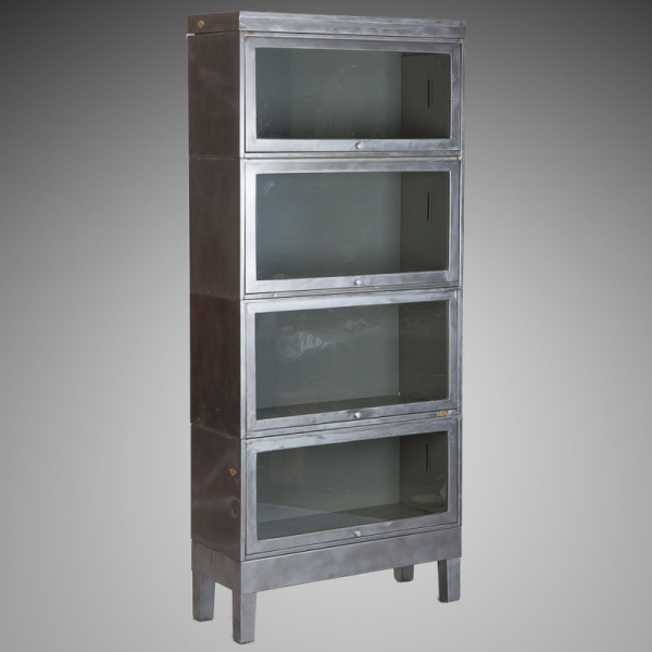 Steel Barrister Bookcase: Industrial Metal Stacking Glass Front Barrister Bookcase