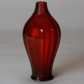 Photo of antique Tall Red Deco Art Glass Vase