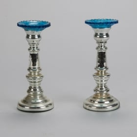 Photo of antique Pair 19th Century Mercury Glass Candlesticks