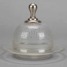 Photo of antique Glass Domed Plate With Etched Neoclassical Design and Sterling Knob