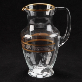 Photo of antique French Etched Crystal Pitcher With Gilt Detailing