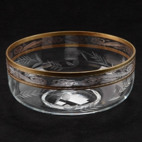 Photo of antique French Etched Crystal Serving Bowl With Gilt Detailing