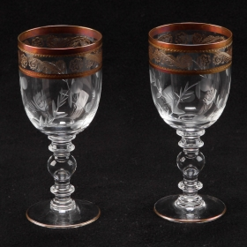 Photo of antique Pair of French Etched Crystal White Wine Glasses With Gilt Detailing