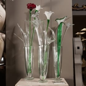 Photo of antique Mid Century Hand Blown Tall Murano Glass Flower