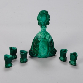 Photo of antique Art Deco Bohemian Malachite Glass Decanter Set