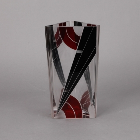 Photo of antique Karl Palda Black and Red Triangular Vase