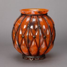 Photo of antique Orange Pate de Verre Vase with Metal Surround