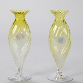 Photo of antique Pair Midcentury Chartreuse Val St Lambert Glass Vases