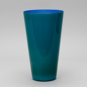 Photo of antique Mid Century Tall Venini Vase in Blue and Teal Murano Glass