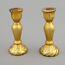 Photo of antique Gold Mercury Glass Candlestick