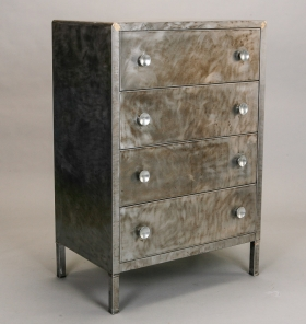 Photo of antique Industrial Polished Steel Chest of Drawers Designed by Norman Bel Geddes