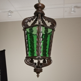Photo of antique Carved Wood Lantern With Green Glass