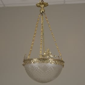 Photo of antique Gilt Bronze and Etched Glass Dome Hanging Fixture