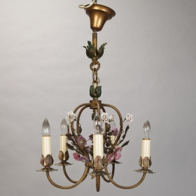 Photo of antique French Five Light Brass Chandelier with Porcelain Flowers