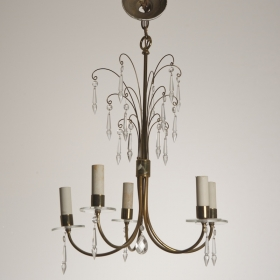 Photo of antique Slender Mid Century Brass and Crystal Chandelier