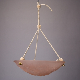 Photo of antique French Art Deco Molded Glass Suspended Light Fixture