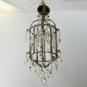 Photo of antique French Crystal Lantern Style Chandelier with Beading