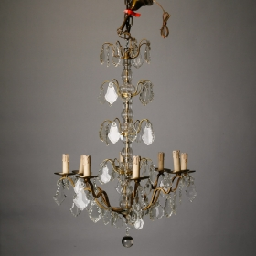 Photo of antique Eight Light French Crystal and Brass Chandelier