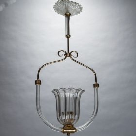 Photo of antique Barovier and Toso Art Deco Era Glass and Brass Pendant Fixture