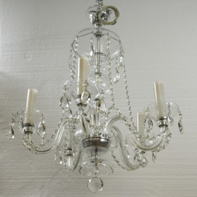 Photo of antique Five Light Crystal Chandelier