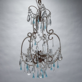 Photo of antique French Brass and Crystal Chandelier with Blue Drops