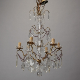 Photo of antique Italian Six Arm Brass and Crystal Chandelier With Amethyst Beads