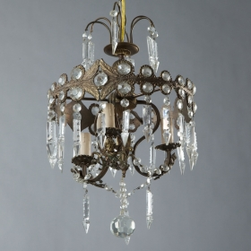 Photo of antique Small Brass and Crystal Chandelier