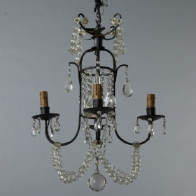 Photo of antique Small Four Light Iron and Beaded Chandelier
