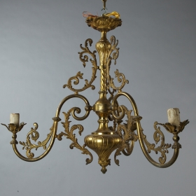 Photo of antique French Triple Arm Brass Chandelier