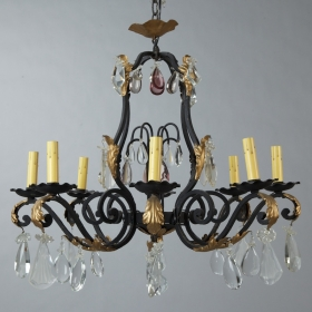 Photo of antique Eight Light French Iron Gilt and Crystal Chandelier