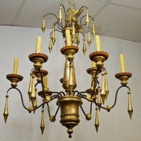 Photo of antique Large Italian Twelve Light Gilt Wood Chandelier