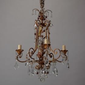 Photo of antique Italian Crystal Chandelier with Colored Drops