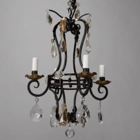 Photo of antique French Four Light Black Iron and Crystal Chandelier