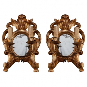 Photo of antique 19th Century Gild Wood Two Light Sconces With Mirrored Center
