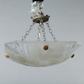 Photo of antique Signed Degue Art Deco Molded Glass Ceiling Fixture