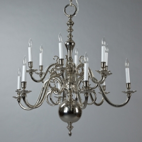 Photo of antique 19th Century 12 Arm Dutch Nickle-Plated Chandelier