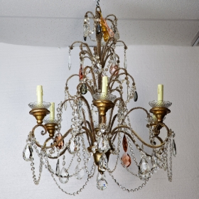 Photo of antique Circa 1900 Italian Crystal and Gild Wood Chandelier