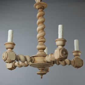 Photo of antique Near Pair Bleached Oak 5-Light Chandeliers With Barley Twist Shaft
