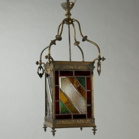 Photo of antique Circa 1890 Leaded Glass and Brass Lantern