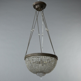 Photo of antique Crystal Basket-Shaped Hanging Fixture with Delicate Chain