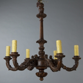 Photo of antique Carved Dutch Oak Chandelier
