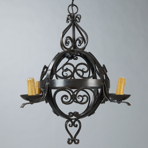 French Round Black Iron Four Branch Chandelier Item 3768